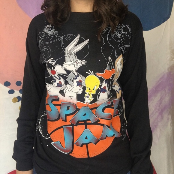 Vintage 90s Warner Bros Space Jam Big Logo Embroidery Sweatshirts Crewneck Space Jam Jumpers Black Colours Pullover Small Size